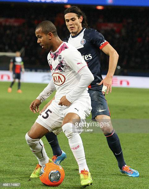 Mariano of Girondins de Bordeaux and Edinson Cavani of Paris SaintGermain during the French Ligue 1 between Paris SaintGermain FC and FC Girondins de...