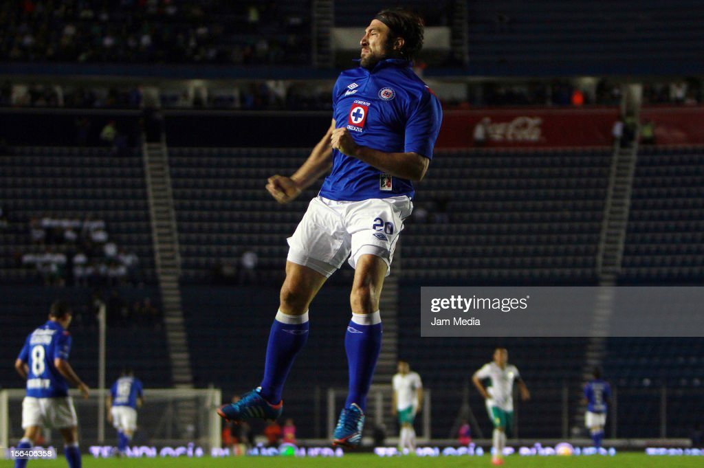 Mariano Pavone of Cruz Azul celebrates a goal against Leon during a match between Cruz Azul and Leon as part of the Apertura 2012 Liga MX at Azul Stadium on November 14, 2012 in Mexico City, Mexico.