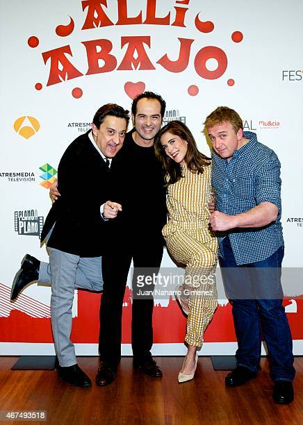 Mariano Pena Alfonso Sanchez Maria Leon and Oscar Terol attend 'Alli Abajo' photocall during FesTVal Murcia 2015 on March 25 2015 in Murcia Spain