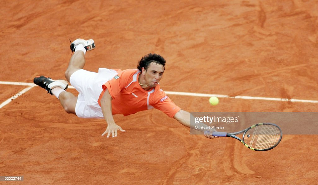 Mariano Puerta of Argentina in action against Rafael Nadal of Spain during the Mens Final match on the fourteenth day of the French Open at Roland Garros on June 5, 2005 in Paris, France.