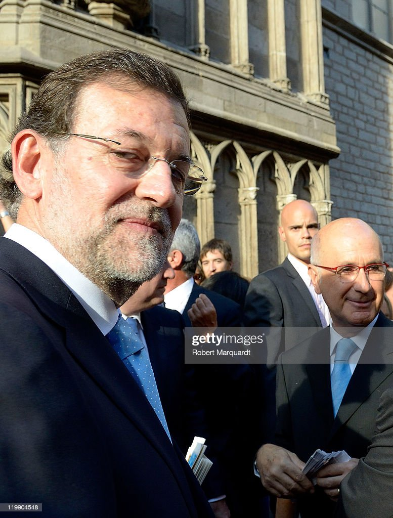 Mariano Rajoy and Josep Antoni Duran Lleida (R) attend the wedding of Adriana Antich Ambatlle and Eugenio Rodriquez at the Santa Maria del Mar church on July 23, 2011 in Barcelona, Spain.