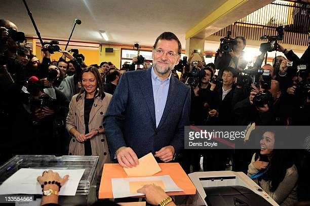 Mariano Rajoy leader of the Popular Party votes at a polling station on November 20 2011 in Madrid Spain Spaniards will go to the polls on November...