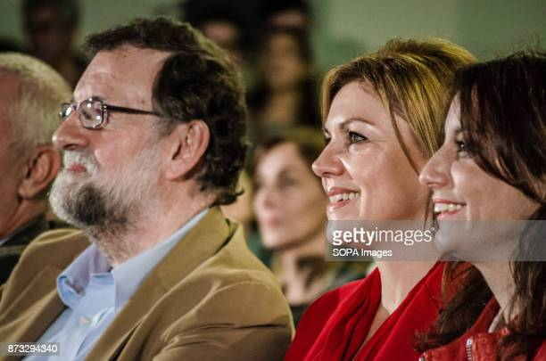 Mariano Rajoy President of the Spanish Government and María Dolores de Cospedal Minister of defence during the political rally of the Popular Party...