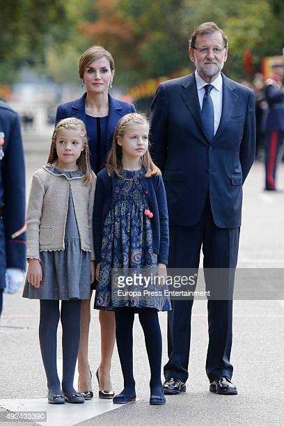 Mariano Rajoy Queen Letizia of Spain Princess Leonor and Princess Sofia attend the National Day Military Parade 2015 on October 12 2015 in Madrid...