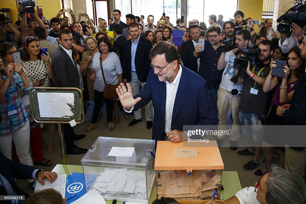 Mariano Rajoy, Spain's acting Prime Minister, gestures after casting his ballot in the Spanish general election in Madrid, Spain, on Sunday, June 26, 2016. Spaniards began voting on Sunday in the second election in six months as the U.K. decision to leave the European Union adds to the uncertainty as the nation seeks to break a political deadlock. Photographer: Angel Navarrete/Bloomberg via Getty Images