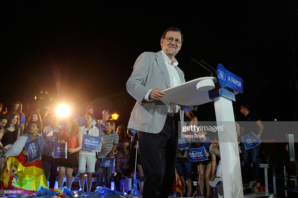 Mariano Rajoy, Spain's acting Prime Minister of the caretaker government adresses his Popular Party supporters during the closing rally ahead of Spanish General Elections on June 24, 2016 in Madrid, Spain. Spanish voters head back to the polls on June 26 after the last election in December failed to produce a government. Latest opinion polls suggest the Unidos Podemos left-wing alliance could make enough gains to come in second behind the caretaker government of the center-right Popular Party.