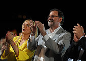 Mariano Rajoy Spain's acting Prime Minister of the caretaker government and Cristina Cifuentes President of the Regional Government of Madrid applaud...