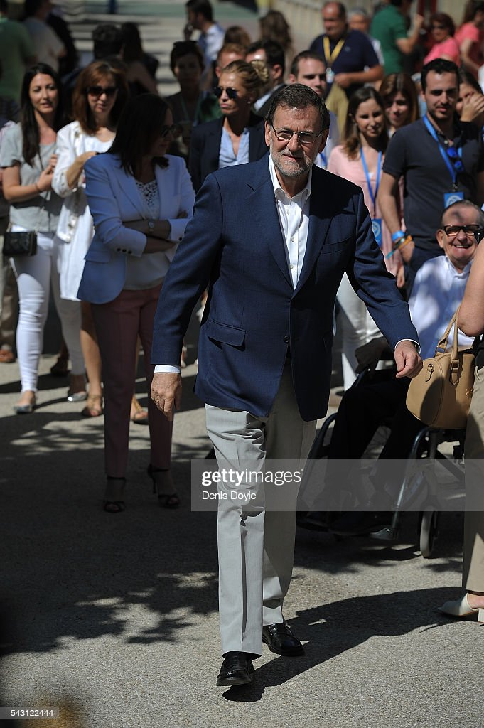 Mariano Rajoy, Spain's acting Prime Minister of the caretaker government, arrives at a polling booth the cast his vote for the Spanish general election on June 26, 2016 in Madrid, Spain. Spanish voters head back to the polls on June 26 after the last election in December failed to produce a government. Latest opinion polls suggest the Unidos Podemos left-wing alliance could make enough gains to come in second behind the caretaker government of the center-right Popular Party.