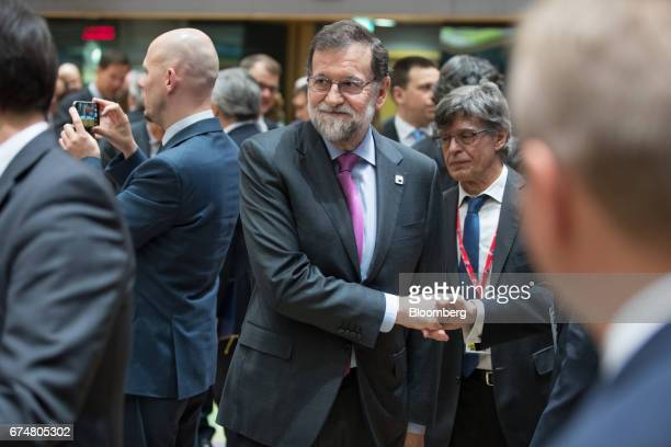Mariano Rajoy Spain's prime minister is greeted as he arrives for a round table meeting during a European Union leaders emergency Brexit summit at...