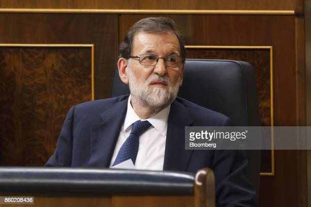 Mariano Rajoy Spain's prime minister looks on before speaking at the parliament in Madrid Spain on Wednesday Oct 11 2017 Rajoy speaking after an...