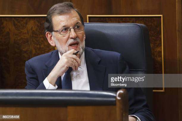 Mariano Rajoy Spain's prime minister speaks at the parliament in Madrid Spain on Wednesday Oct 11 2017 Rajoy speaking after an emergency session of...