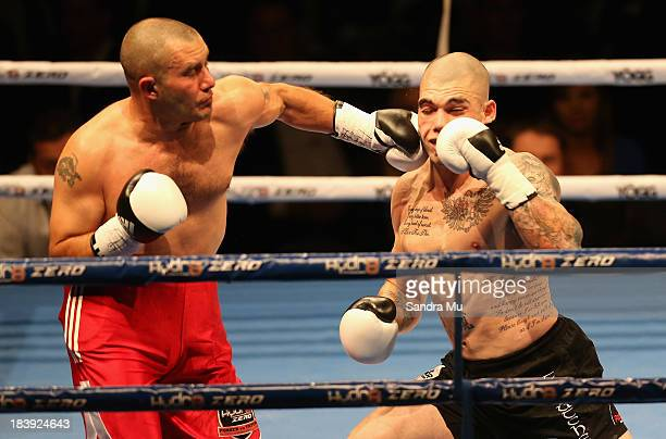 Mariano Riva punches Robert Berridge during the under card fight ahead of the Joesph Parker and Afa Tatupu New Zealand National Boxing Federation...