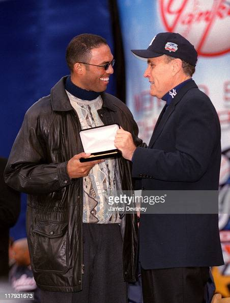 Mariano Rivera and Mayor Rudolph Giuliani during Ticker Tape Parade for the New York Yankees 2000 World Series Champions at City Hall in New York NY...
