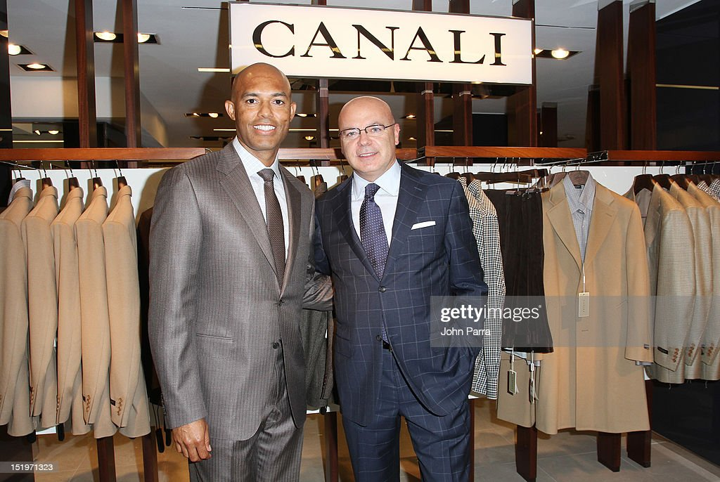 Mariano Rivera (L) attend Bloomingdale's 59th Street and Canali welcome Mariano Rivera in support of the Mariano Rivera Foundation at Bloomingdale's 59th Street Store on September 13, 2012 in New York City.