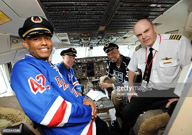 Mariano Rivera Mark Messier and Kareem AbdulJabbar join Delta Air Lines the official airline of the New York Rangers and Los Angeles Kings on June 9...
