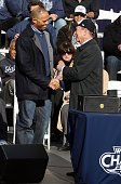 Mariano Rivera of the New York Yankees accepts his key to the city from New York City Mayor Michael Bloomberg during the New York Yankees World...