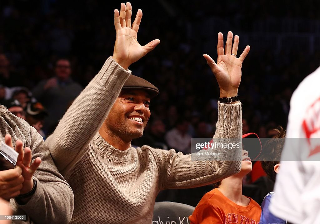 Mariano Rivera of the New York Yankees attends the NBA game between the Brooklyn Nets and the Golden State Warriors at Barclays Center on December 7, 2012 in the Brooklyn borough of New York City.The Warriors defeated the Nets 109-102.
