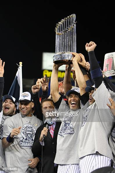 Mariano Rivera of the New York Yankees celebrates with the trophy after their 73 win against the Philadelphia Phillies in Game Six of the 2009 MLB...