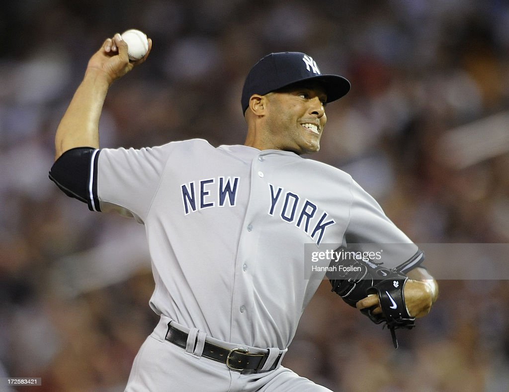 <a gi-track='captionPersonalityLinkClicked' href=/galleries/search?phrase=Mariano+Rivera&family=editorial&specificpeople=201607 ng-click='$event.stopPropagation()'>Mariano Rivera</a> #42 of the New York Yankees delivers a pitch against the Minnesota Twins during the ninth inning of the game on July 3, 2013 at Target Field in Minneapolis, Minnesota. The Yankees defeated the Twins 3-2.