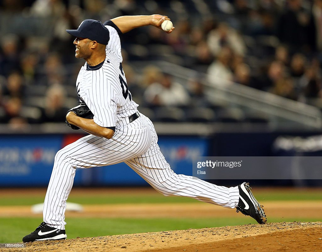 <a gi-track='captionPersonalityLinkClicked' href=/galleries/search?phrase=Mariano+Rivera&family=editorial&specificpeople=201607 ng-click='$event.stopPropagation()'>Mariano Rivera</a> #42 of the New York Yankees delivers a pitch in the ninth inning against the Boston Red Sox on April 4, 2013 at Yankee Stadium in the Bronx borough of New York City.The New York Yankees defeated the Boston Red Sox 4-2.
