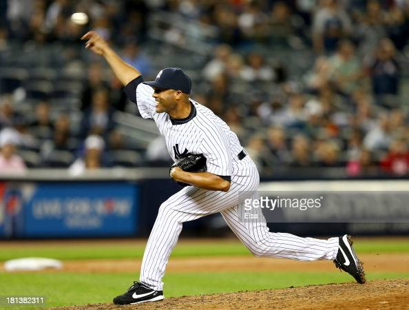 Mariano Rivera of the New York Yankees delivers a pitch in the ninth inning against the San Francisco Giants during interleague play on September 20...