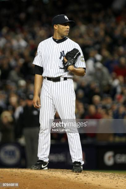 Mariano Rivera of the New York Yankees gets set to throw a pitch against the Philadelphia Phillies in Game Six of the 2009 MLB World Series at Yankee...