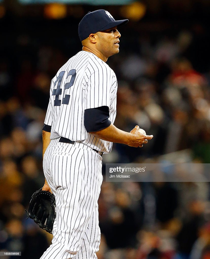 Mariano Rivera #42 of the New York Yankees in action against the Boston Red Sox at Yankee Stadium on April 4, 2013 in the Bronx borough of New York City. The Yankees defeated the Red Sox 4-2.
