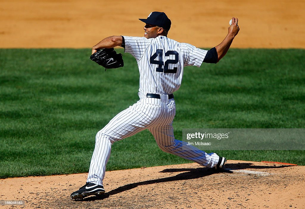 Mariano Rivera #42 of the New York Yankees in action against the Oakland Athletics at Yankee Stadium on May 4, 2013 in the Bronx borough of New York City. The Yankees defeated the A's 4-2.