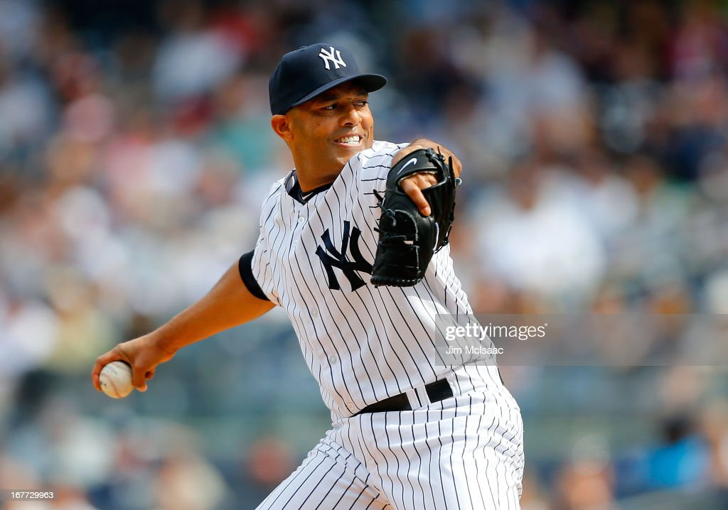 <a gi-track='captionPersonalityLinkClicked' href=/galleries/search?phrase=Mariano+Rivera&family=editorial&specificpeople=201607 ng-click='$event.stopPropagation()'>Mariano Rivera</a> #42 of the New York Yankees in action against the Toronto Blue Jays at Yankee Stadium on April 28, 2013 in the Bronx borough of New York City. The Yankees defeated the Blue Jays 3-2.
