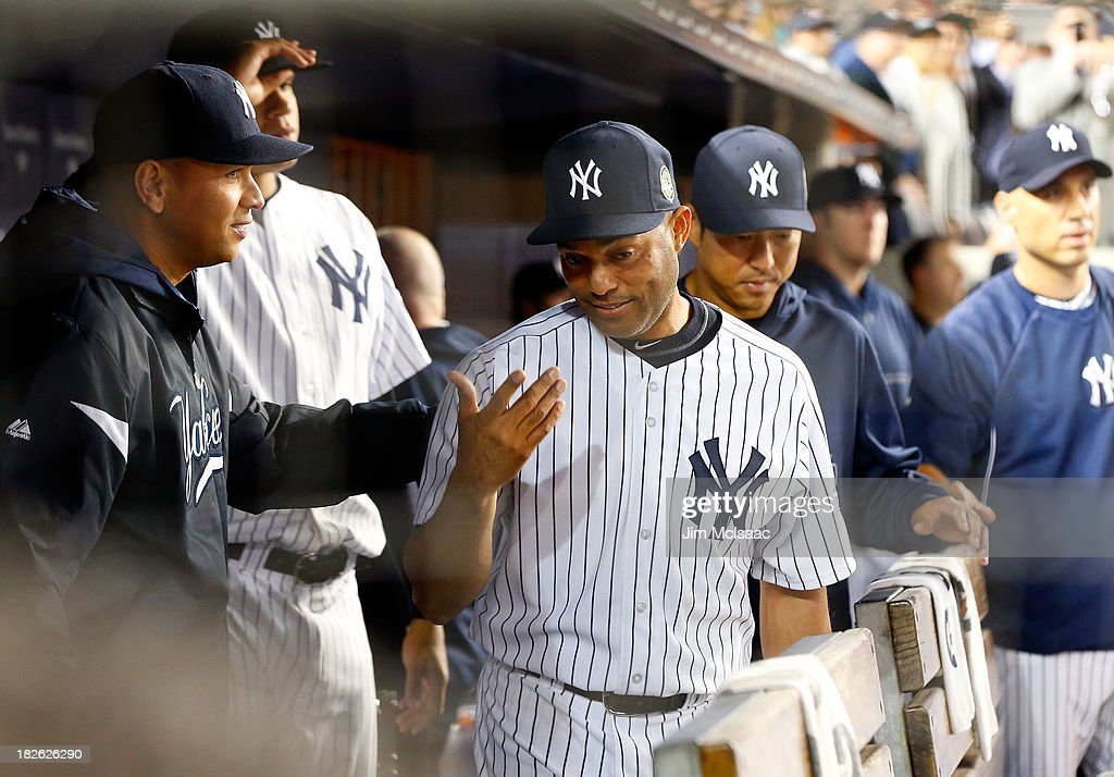 Mariano Rivera #42 of the New York Yankees in the dugout after leaving a game in the ninth inning against the Tampa Bay Rays at Yankee Stadium on September 26, 2013 in the Bronx borough of New York City. The Rays defeated the Yankees 4-0.