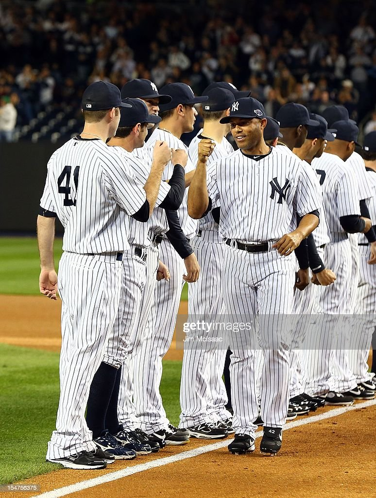 Mariano Rivera #42 of the New York Yankees is introduced before Game Three of the American League Division Series against the Baltimore Oriolesat Yankee Stadium on October 10, 2012 in the Bronx borough of New York City. The Yankees defeated the Orioles 3-2.