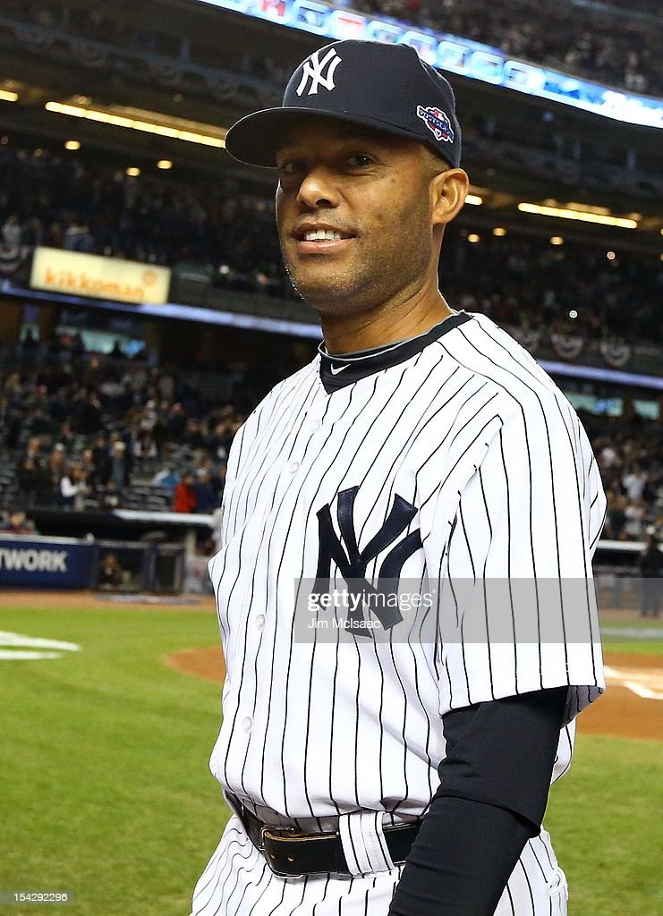 Mariano Rivera #42 of the New York Yankees looks on before Game One of the American League Championship Series against the Detroit Tigers at Yankee Stadium on October 13, 2012 in the Bronx borough of New York City, New York.. The Tigers defeated the Yankees 6-4 in 12 innings.