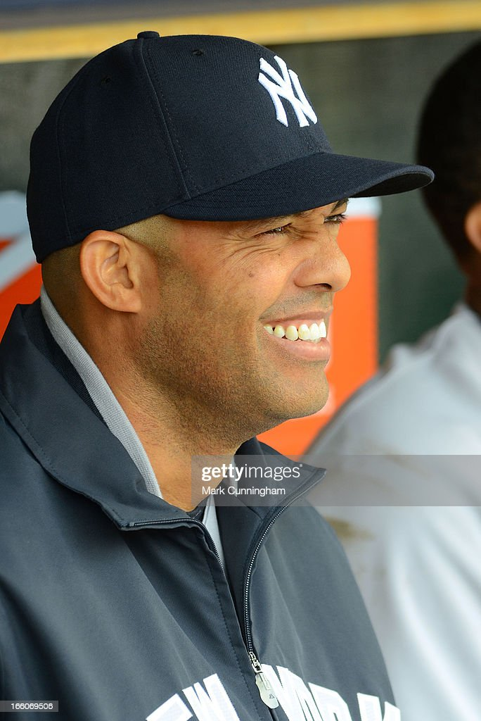Mariano Rivera #42 of the New York Yankees looks on from the dugout during the game against the Detroit Tigers at Comerica Park on April 7, 2013 in Detroit, Michigan. The Yankees defeated the Tigers 7-0.
