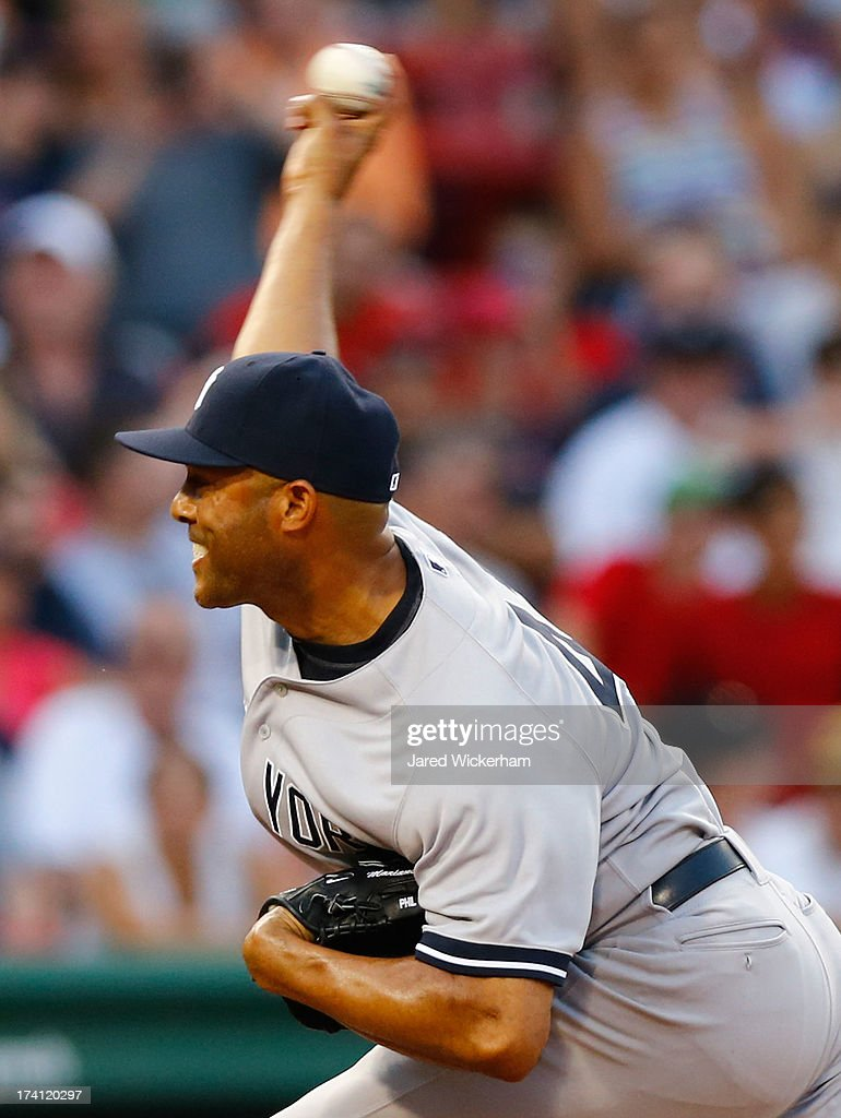 <a gi-track='captionPersonalityLinkClicked' href=/galleries/search?phrase=Mariano+Rivera&family=editorial&specificpeople=201607 ng-click='$event.stopPropagation()'>Mariano Rivera</a> #42 of the New York Yankees pitches against the Boston Red Sox during the game on July 20, 2013 at Fenway Park in Boston, Massachusetts.