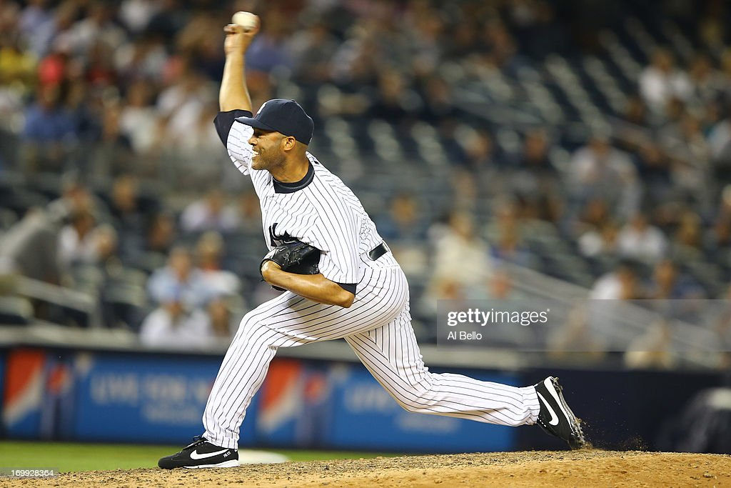 <a gi-track='captionPersonalityLinkClicked' href=/galleries/search?phrase=Mariano+Rivera&family=editorial&specificpeople=201607 ng-click='$event.stopPropagation()'>Mariano Rivera</a> #42 of the New York Yankees pitches against the Cleveland Indians during their game on June 4, 2013 at Yankee Stadium in the Bronx borough of New York City