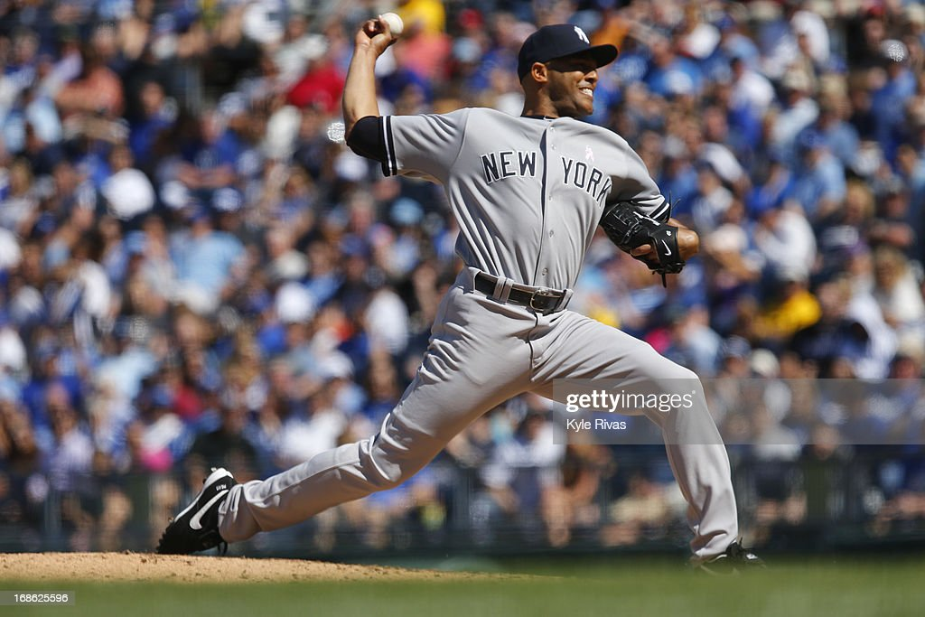 <a gi-track='captionPersonalityLinkClicked' href=/galleries/search?phrase=Mariano+Rivera&family=editorial&specificpeople=201607 ng-click='$event.stopPropagation()'>Mariano Rivera</a> #42 of the New York Yankees pitches against the Kansas City Royals in the 9th inning on May 12, 2013 at Kauffman Stadium in Kansas City, Missouri.
