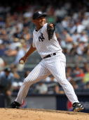 Mariano Rivera of the New York Yankees pitches against the Los Angeles Angels of Anaheim at Yankee Stadium on July 21 2010 in the Bronx borough of...