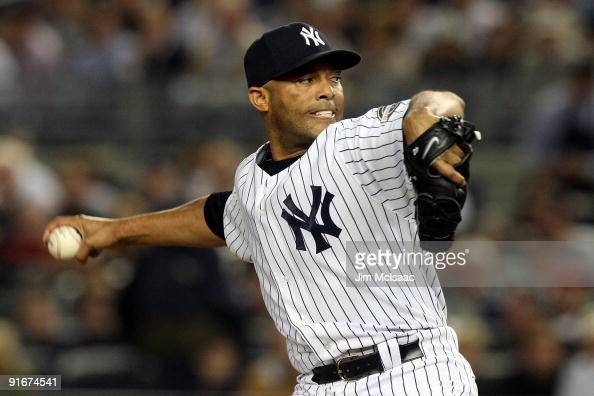 Mariano Rivera of the New York Yankees pitches against the Minnesota Twins in Game Two of the ALDS during the 2009 MLB Playoffs at Yankee Stadium on...