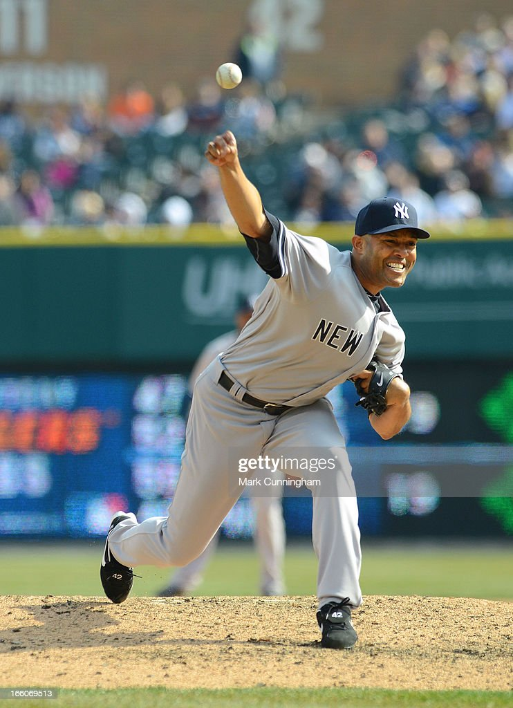 Mariano Rivera #42 of the New York Yankees pitches during the game against the Detroit Tigers at Comerica Park on April 7, 2013 in Detroit, Michigan. The Yankees defeated the Tigers 7-0.