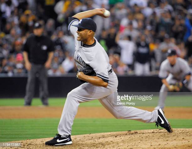 Mariano Rivera of the New York Yankees pitches during the ninth inning of a baseball game against the San Diego Padres at Petco Park on August 3 2013...