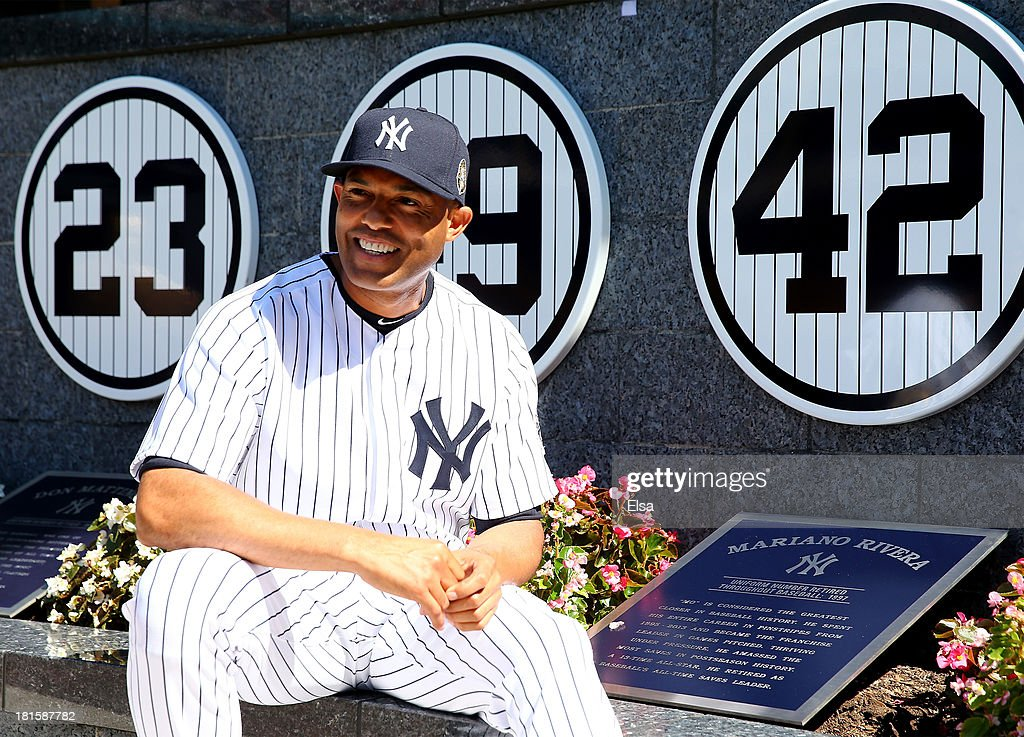 <a gi-track='captionPersonalityLinkClicked' href=/galleries/search?phrase=Mariano+Rivera&family=editorial&specificpeople=201607 ng-click='$event.stopPropagation()'>Mariano Rivera</a> #42 of the New York Yankees poses next to his retired number in Monument Park before the game against the San Francisco Giants during interleague play on September 22, 2013 at Yankee Stadium in the Bronx borough of New York City.