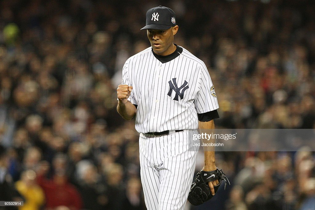 <a gi-track='captionPersonalityLinkClicked' href=/galleries/search?phrase=Mariano+Rivera&family=editorial&specificpeople=201607 ng-click='$event.stopPropagation()'>Mariano Rivera</a> #42 of the New York Yankees reacts after closing the eighth inning against the Philadelphia Phillies in Game Two of the 2009 MLB World Series at Yankee Stadium on October 29, 2009 in the Bronx borough of New York City.