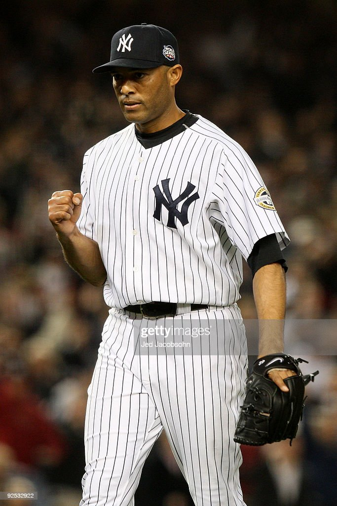 Mariano Rivera #42 of the New York Yankees reacts after closing the eighth inning against the Philadelphia Phillies in Game Two of the 2009 MLB World Series at Yankee Stadium on October 29, 2009 in the Bronx borough of New York City.