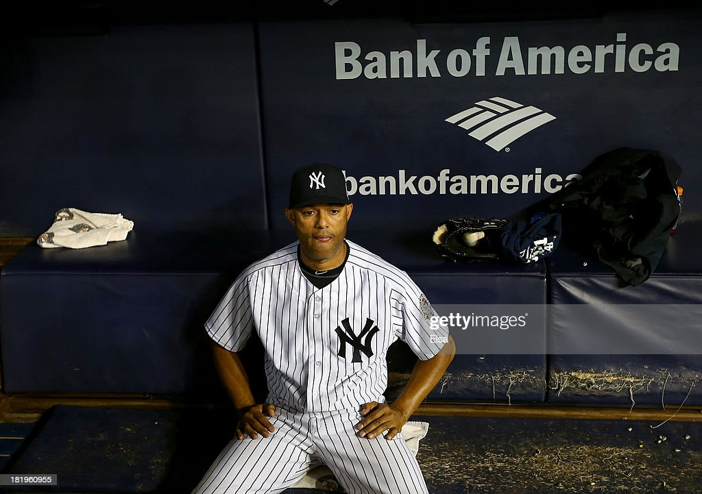 Mariano Rivera #42 of the New York Yankees sits in the dugout after the game against the Tampa Bay Rays on September 26, 2013 at Yankee Stadium in the Bronx borough of New York City.This is his last game at Yankee Stadium. Rivera is retiring after this season.