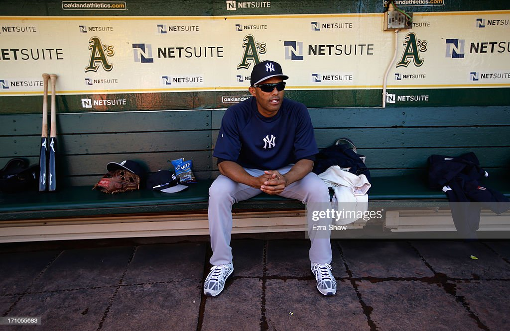<a gi-track='captionPersonalityLinkClicked' href=/galleries/search?phrase=Mariano+Rivera&family=editorial&specificpeople=201607 ng-click='$event.stopPropagation()'>Mariano Rivera</a> #42 of the New York Yankees sits in the dugout before their game against the Oakland Athletics at O.co Coliseum on June 12, 2013 in Oakland, California.