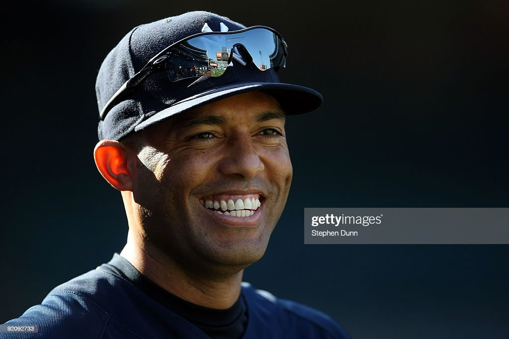 Mariano Rivera #42 of the New York Yankees smiles during batting practice before Game Four of the ALCS during the 2009 MLB Playoffs against the Los Angeles Angels of Anaheim at Angel Stadium on October 20, 2009 in Anaheim, California.
