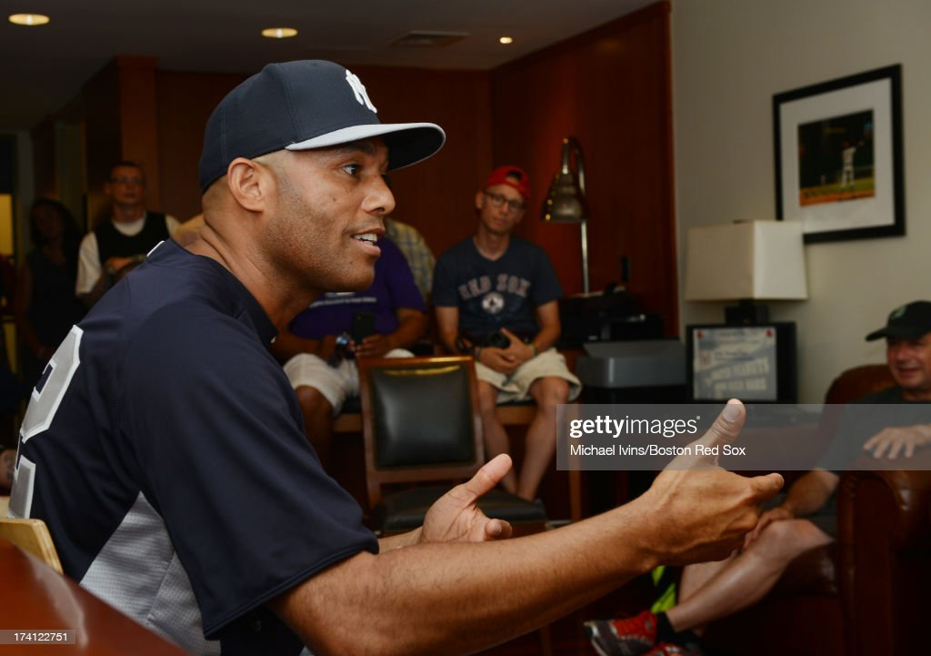 <a gi-track='captionPersonalityLinkClicked' href=/galleries/search?phrase=Mariano+Rivera&family=editorial&specificpeople=201607 ng-click='$event.stopPropagation()'>Mariano Rivera</a> #42 of the New York Yankees speaks with a select group local fans during a private meeting before a game against the Boston Red sox on July 20, 2013 at Fenway Park in Boston, Massachusetts.