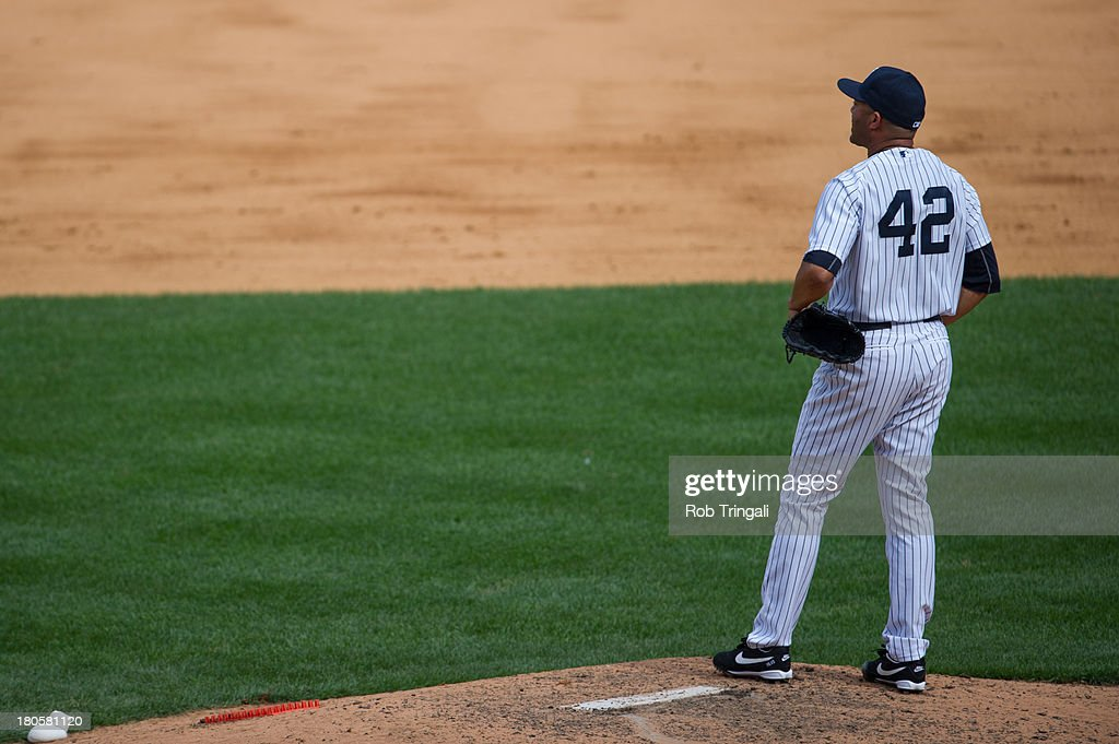 Mariano Rivera #42 of the New York Yankees stands on the mound in the ninth inning after surrendering two home runs to the Detroit Tigers as they tie tie the game at Yankee Stadium on August 11, 2013 in the Bronx borough of Manhattan.