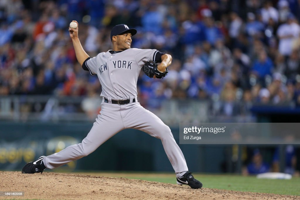 <a gi-track='captionPersonalityLinkClicked' href=/galleries/search?phrase=Mariano+Rivera&family=editorial&specificpeople=201607 ng-click='$event.stopPropagation()'>Mariano Rivera</a> #42 of the New York Yankees throw against against the Kansas City Royals at Kauffman Stadium on May 11, 2013 in Kansas City, Missouri.