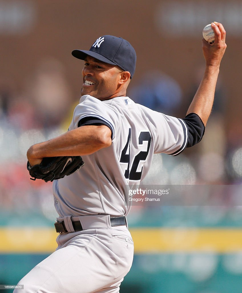 Mariano Rivera #42 of the New York Yankees throws a ninth inning pitch while playing the Detroit Tigers at Comerica Park on April 7, 2013 in Detroit, Michigan. New York won the game 7-0.